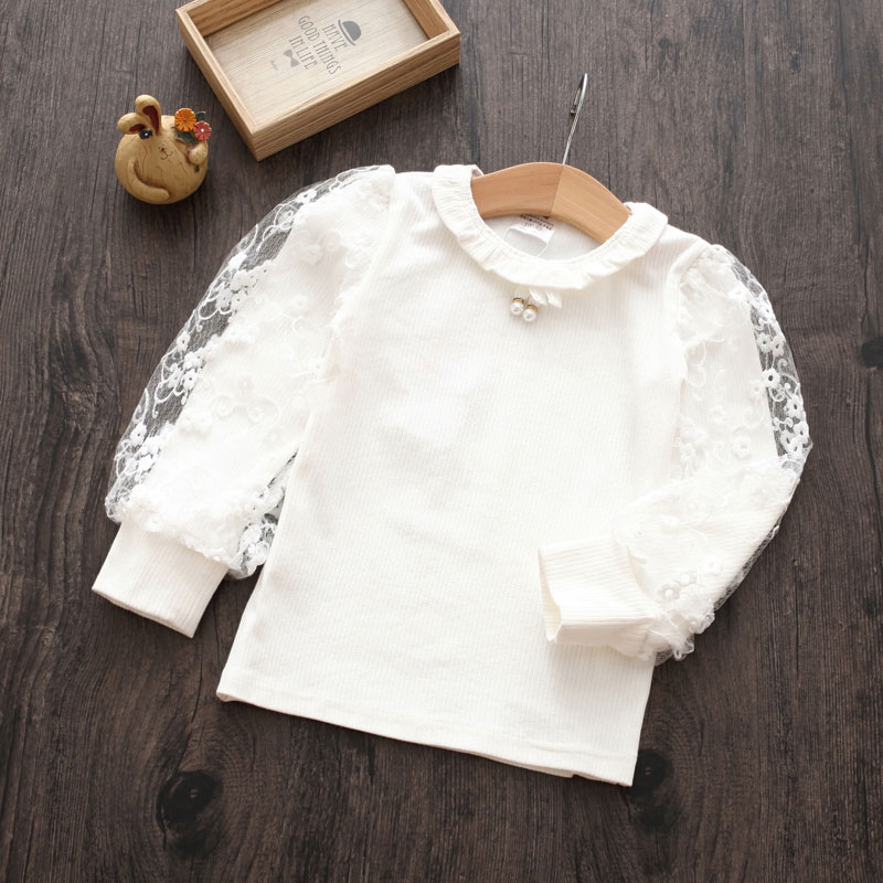 2018 Spring Autumn Fashion Long Sleeve O-Neck Pearl Embroidery Lace Flower Floral Child Baby Kids Girl White Basic Blouse Shirt