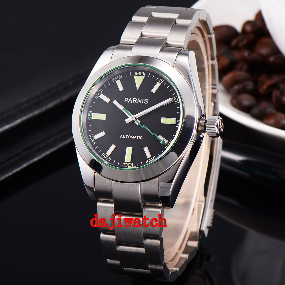 лучшая цена parnis 40mm black dial Sapphire glass automatic mechanicalmens watch miyota Movement