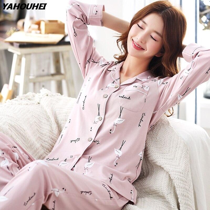 Пижамные комплекты размера плюс из 100% хлопка с милым животным принтом для женщин 2019, осенне зимняя пижама с длинным рукавом, домашняя одежда