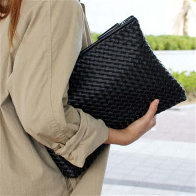 2017 Kpop knitting women's clutch bag PU leather women envelope bags clutch evening bag Clutches Handbags black free shipping