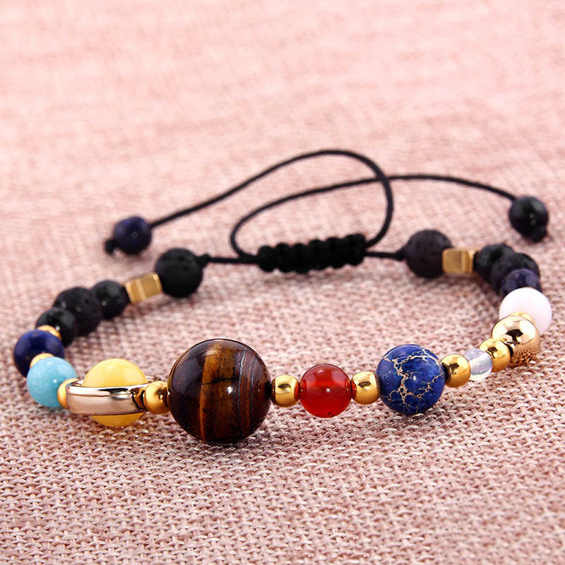 Womens Universe Galaxy Solar System The Eight Planets Bracelet Guardian Star Natural Stone Beads Bracelets Bangle For Women Men