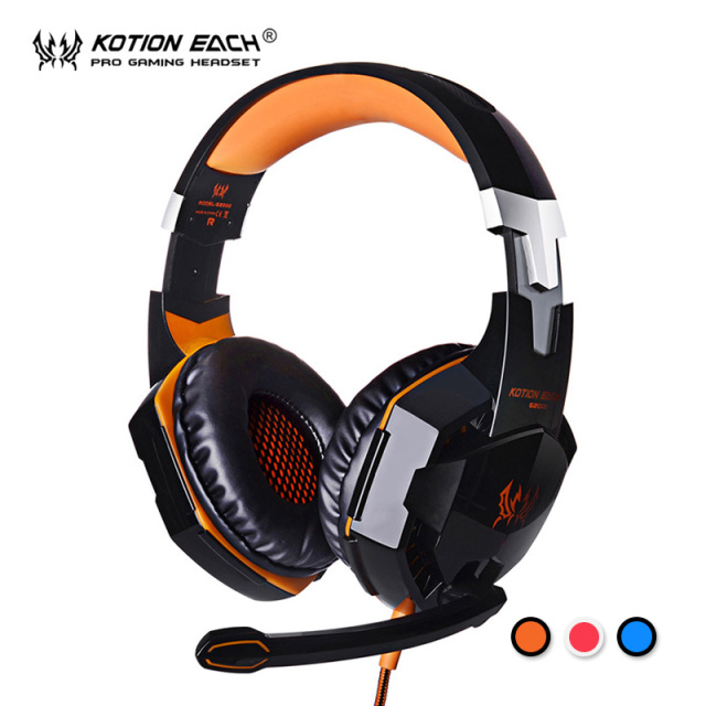 Kotion each g2000 gaming headset estéreo con cable pc gamer ordenador auriculares con micrófono led auricular de cancelación de ruido