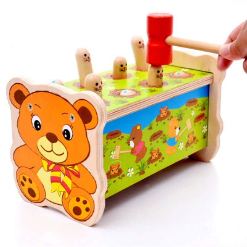 Montessori Learning Education Children Wooden Toys Hit Gophers Hand Eye Coordination Training Puzzle game for Kid Birthday Gift