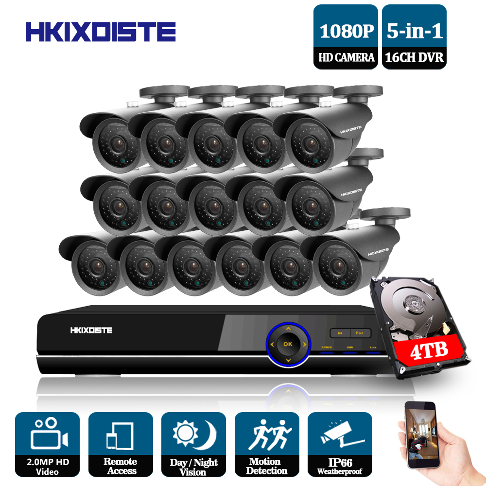 16CH AHD 1080P CCTV DVR Kit 3000tvl 1080P security surveillance Camera system 16 channel HDMI 1080P CCTV System Motion Detection