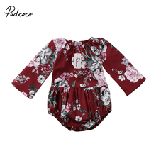 Flower Girls Clothing Infant Baby Girls Cotton Floral Long Sleeve Jumpsuit Rompe