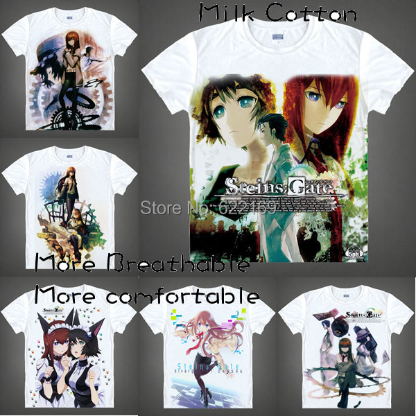 2015 Steins Gate Kurisu Shiina T Shirt Cosplay Costumes Mens Japanese Famous Anime T-shirt Unique Gift Camisetas Masculina