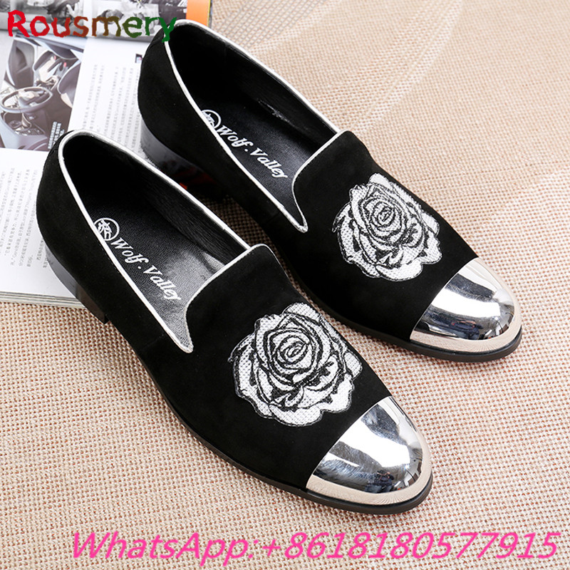 Cool Black Printing Rose Flower Comfortable Casual Shoes Men Spring Autumn Attractive Man Moccasins Soft Solid Chaussure Homme