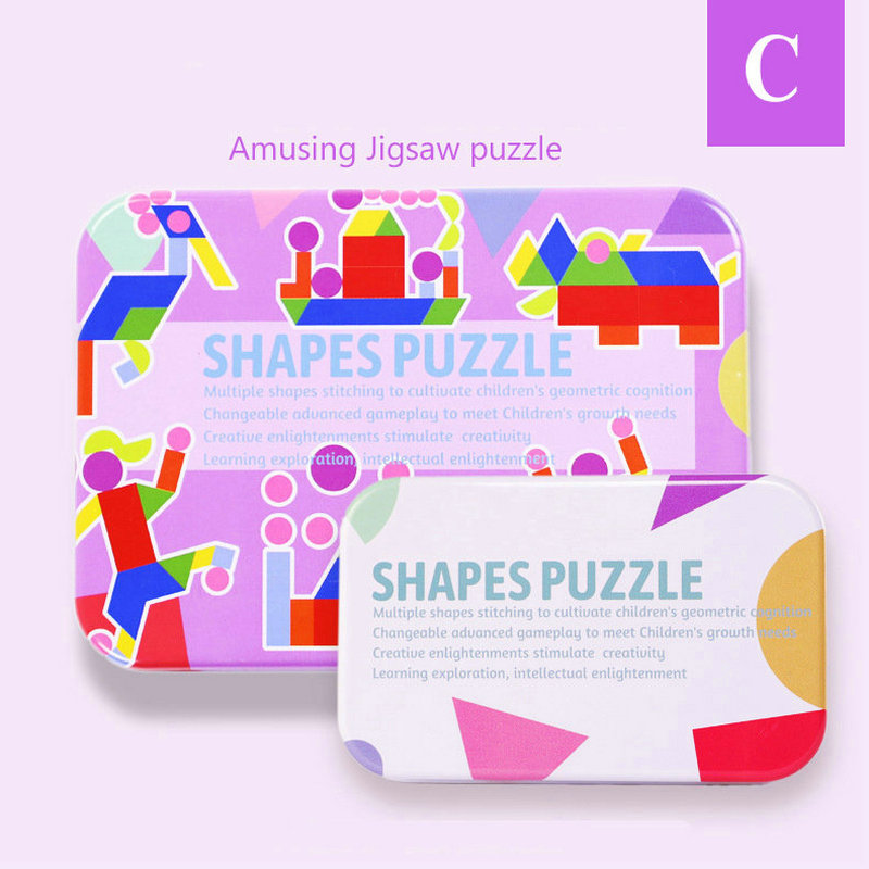 Wooden Montessori jigsaw Puzzles toy Iron box fun puzzle Baby Model Building Kits puzzle Children 39 s Educational puzzle Wood Toys in Puzzles from Toys amp Hobbies
