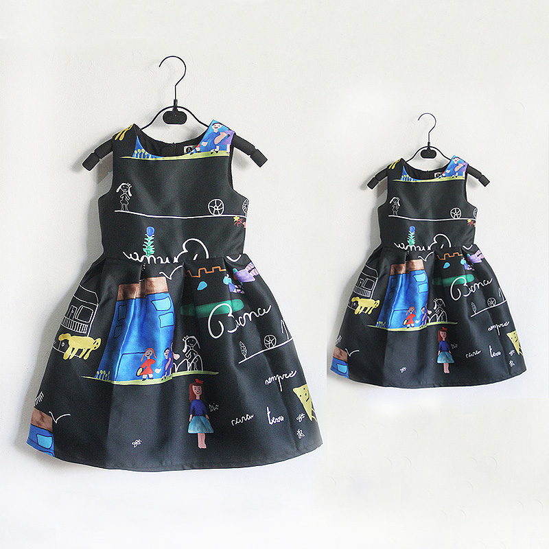 Black cartoon graffiti prints sleeveless skirts women girls kids sundress family look clothes mother and daughter evening dress casual scoop collar sleeveless color block striped sundress for women