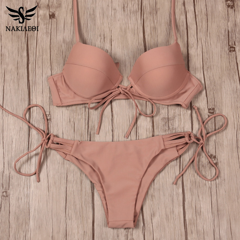 NAKIAEOI 2018 New Sexy Bikinis Women Swimsuit Push Up Swimwear Bandage Cut Out Bikini Set Halter Beach Bathing Suits Swim Wear 3