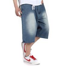 Плюс Размер 30-46 (талия 116 см) Мешковатые джинсы мужские хип-хоп уличная мода печать дополнительных большой обрезанные брюки