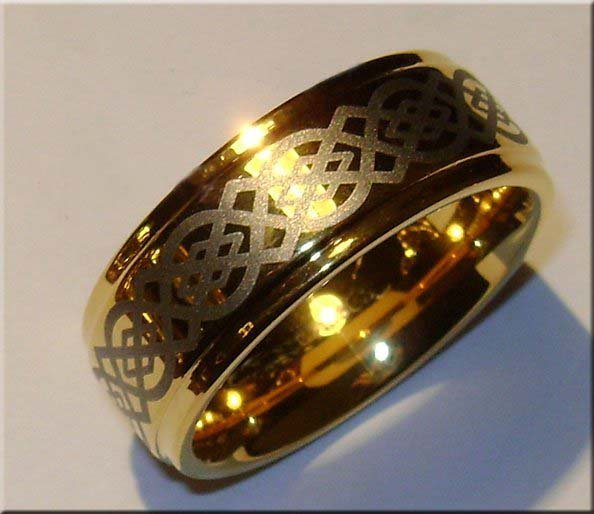 Wholesale Guaranteed 100% New 9MM Tungsten Carbide 18K gold Wedding Band Ring + free shipping