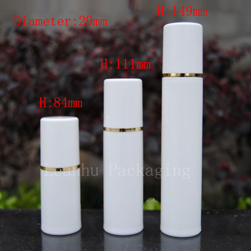 15ml 30ml 50ml white airless bottle with gold strip (3)