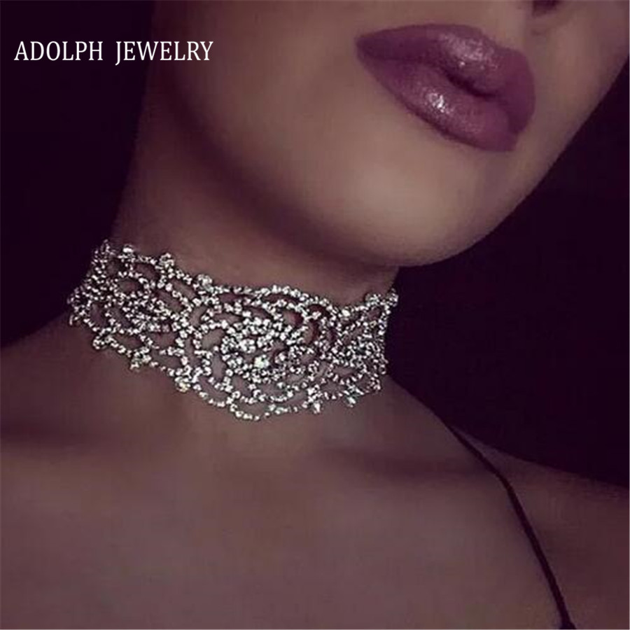 Adolph Jewelry Wholesale 2017 Bohemia Alloy Chain Rhinestones Flower Statement Necklaces & Pendants Chorkers Necklace For Women
