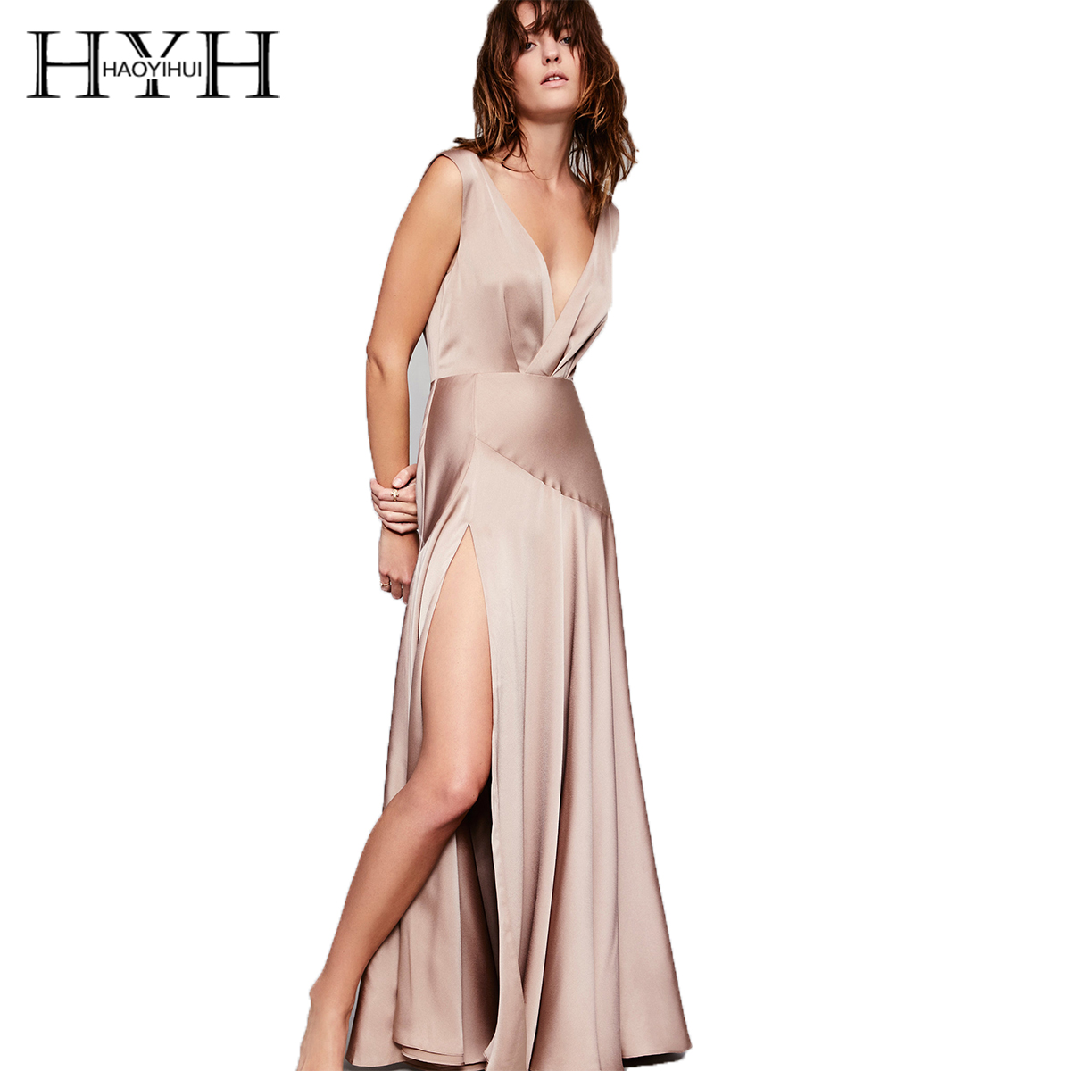 HYH HAOYIHUI 2017 Elegant Vetidos Two Colors Sleeveless V neck Backless Split Zipper Side Ruffles Vintage