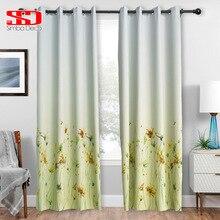 Затемненные шторы с желтыми цветами для гостиной, декоративные градиентные ткани для штор, Затемненные жалюзи для окон