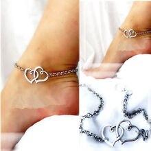 Мода Двойное Сердце Цепи Пляж Сексуальные Сандалии Лодыжки Простые Сердца К Сердцу Лодыжки Для Женщин