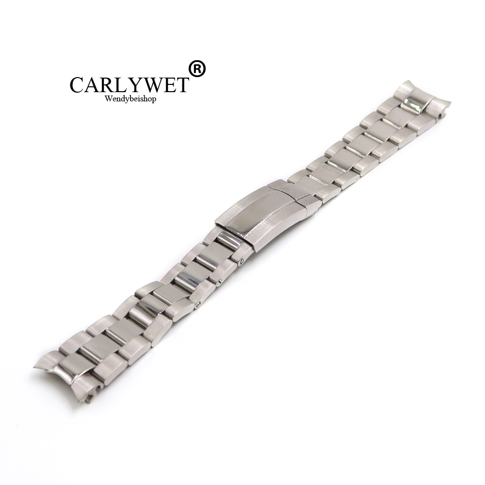 CARLYWET 20mm 316L Stainless Steel Silver Solid Curved End Screw Links Deployment Clasp Watch Wrist Band Strap Bracelet carlywet 22 24mm silver solid screw links replaceme 316l stainless steel wrist watch band bracelet strap with double push clasp