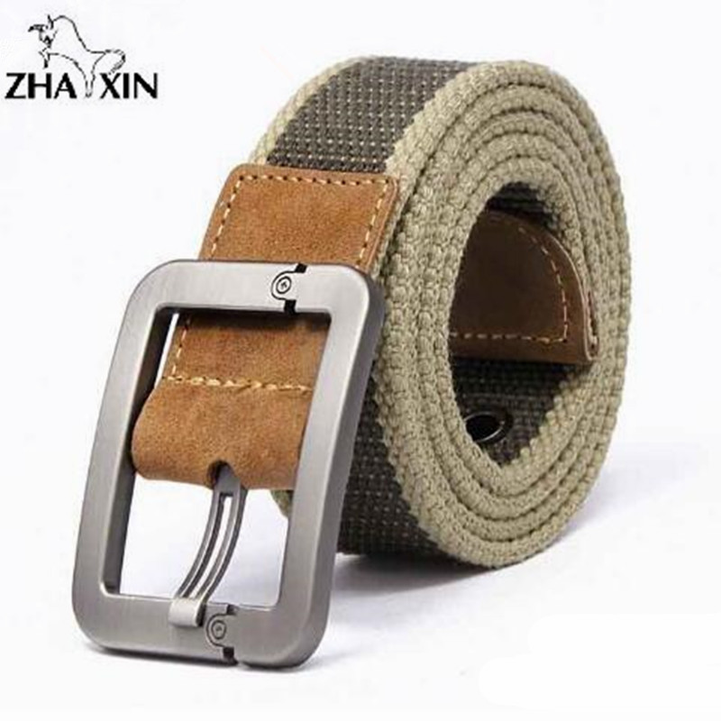 HOT 2017 wholesale Real Solid brand Belt for Men Casual Striped belt Cinto men's Fashion Pin Buckle Canvas cowboy knitted Strap