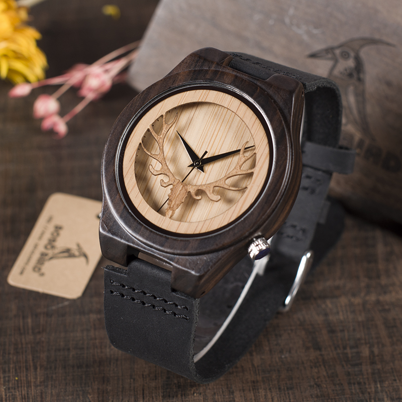 BOBO BIRD Leather Strap Black Wooden Quartz Watches Hollow Design Clock Luxury Men Brand Wrist Watch relogio masculino C-B18 bobo bird monkey watch wooden relojes quartz men watches casual wooden color leather strap watch wood male wristwatch for gift