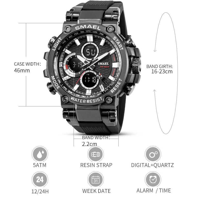 SMEAL 남자 스포츠 시계 디지털 더블 타임 크로노 그래프 시계 망 LED 크로노 미터 주 표시 손목 시계 montre homme Hour