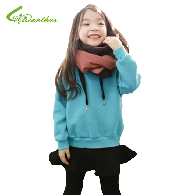 Children Coat Girls Overcoat Winter Solid Color Pullover Cotton Soft Warm Long Sleeve Cute With Cashmere Fashionable Design