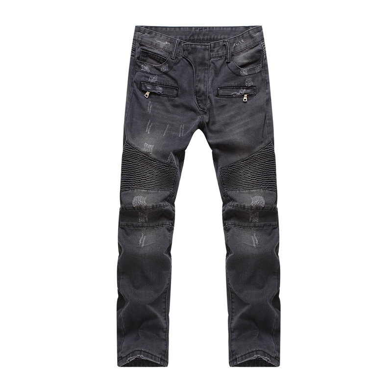 ФОТО Black Ripped Jeans Men 2017 Spring New Destroyed Holes Demin Pants Men Casual Slim Fit Hip Hop Strech Ripped Biker Jeans Homme