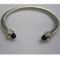 925 Silver Jwelry 5mm Cable Silver Bracelet with Black Onyx,Blue Topaz Rose Quartz,Garnet,Pearl,Morganite Bracelet
