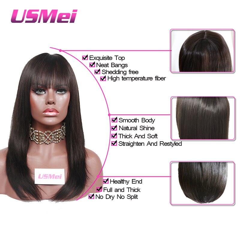 USMEI Silk Ευθεία μακρά μαύρη συνθετική - Συνθετικά μαλλιά - Φωτογραφία 4