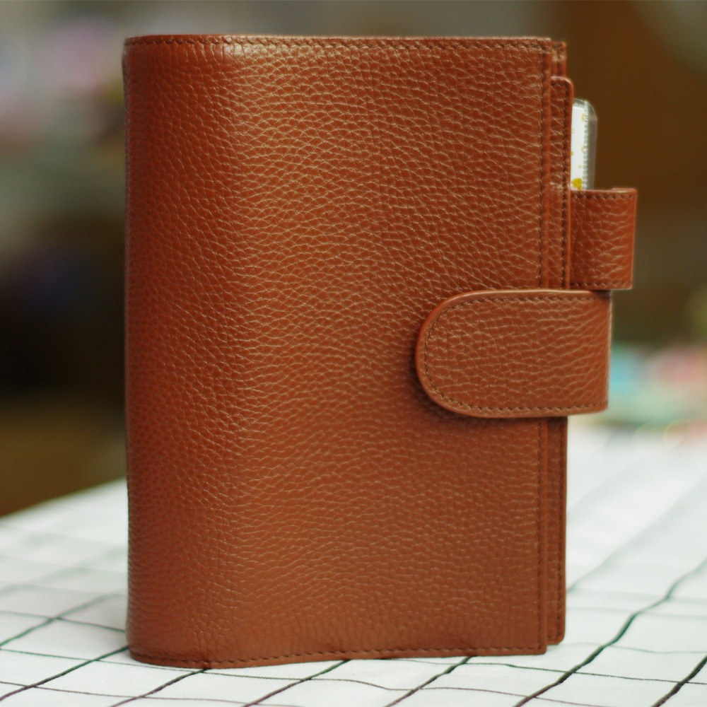 A6 Yiwi 100% Genuine leather Notebook Handmade Gold Spiral Notebook Cowhide Vintage Journal Planner Spiral Diary With Pocket