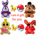 4PCS Five Nights At Freddy's 4 FNAF Bonnie Foxy Freddy Chica Fazbear Bear Plush Toys Doll Stuffed Toy Christmas Gifts Pokeball