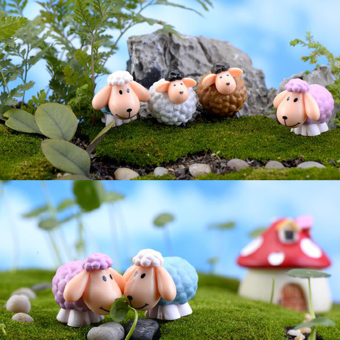 1Piece Mini Cute Long Ears Sheep 2.5*3CM Cute Miniatures Micro Landscape Crafts Table Pots Ornaments Fairy Garden Decor