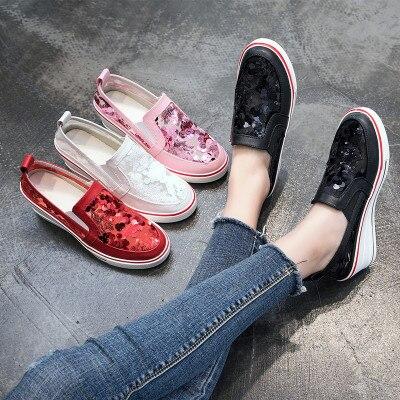 1c4cce52367660 rouge Avec De Net Respirant Aider Muffin Fond rose New Dames 2018 Wedge Noir  Bas Creux Chaussures Pour Épais Paillettes blanc ...