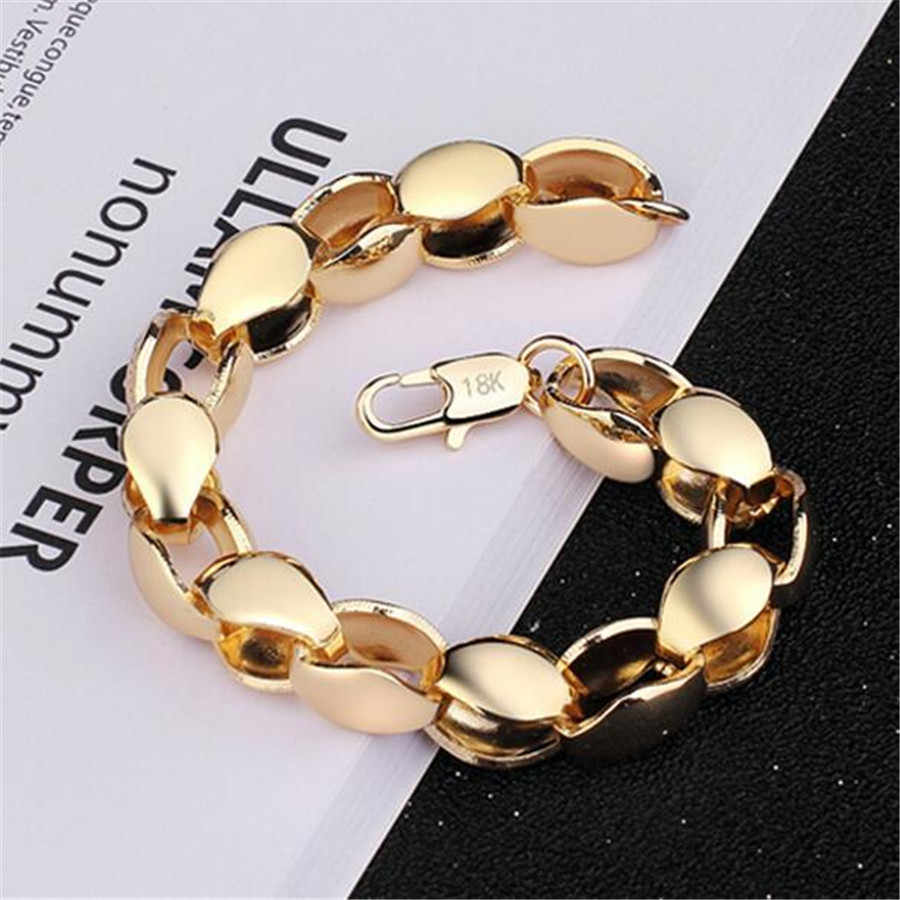 New creative 8MM thick chain bracelet men domineering boutique jewelry 20CM long Gold 18 K chain