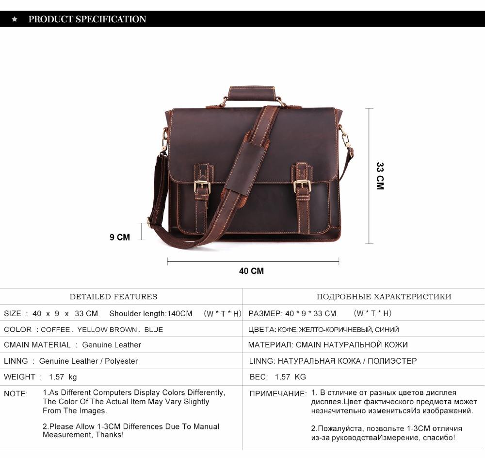 HTB1m7O.BcyYBuNkSnfoq6AWgVXaq JOYIR 2019 Vintage Men's Genuine Leather Briefcase Crazy Horse Genuine Leather Messenger Male Laptop Bag Men Business Travel Bag