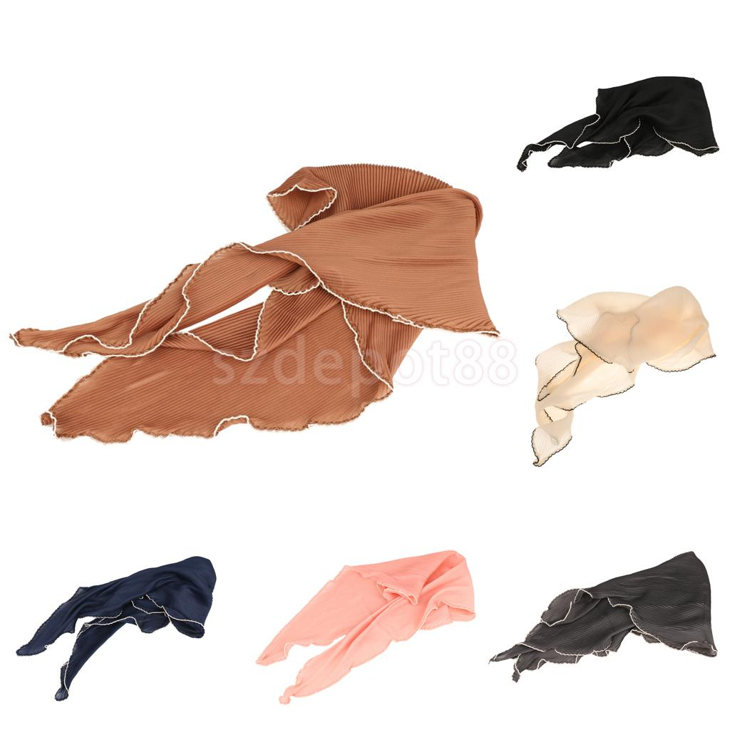 Women's Chiffon Triangle Scarf Goffered Elastic Cozy Scarves Solid Color