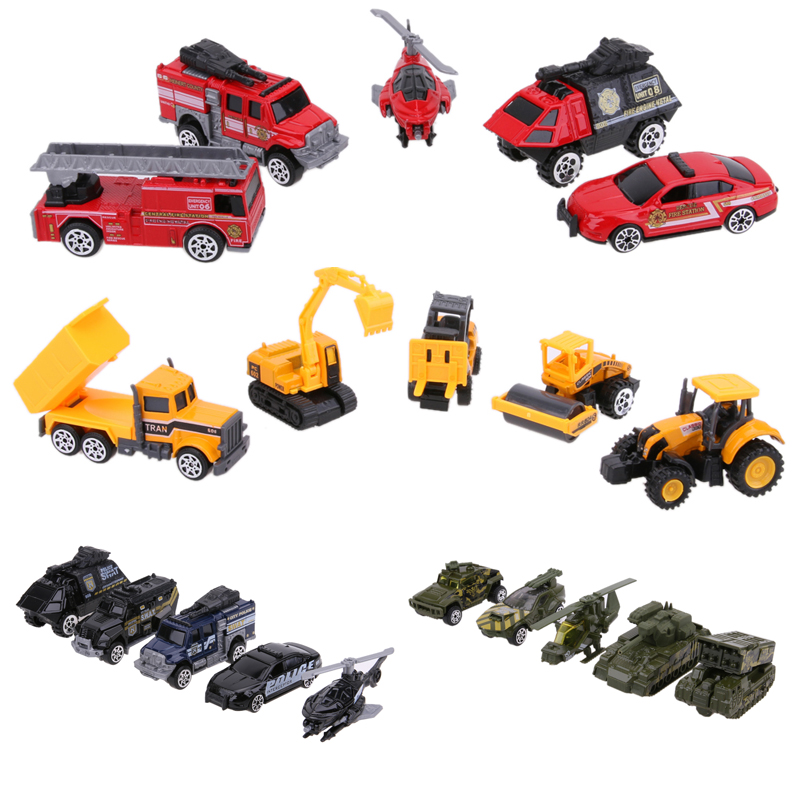 5Pcs/Lot Mini 1:64 Scale Alloy Car Truck Models Engineering Military Vehicles SWAT Police Cars ...