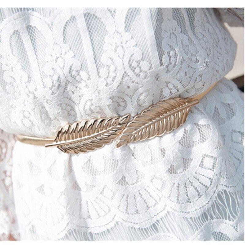 Gold silvery leaf shape Wedding designer Elastic   belts   for women girl,Stretch Skinny Waist   Belt   Cummerbunds metal female   belt