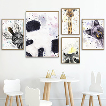 Watercolor Panda Giraffe Deer Wall Art Canvas Painting Nordic Posters And Prints Animals Wall Pictures For Living Room Decor panda wolf tiger panda wall art canvas painting nordic posters and prints watercolor animals wall pictures for living room decor