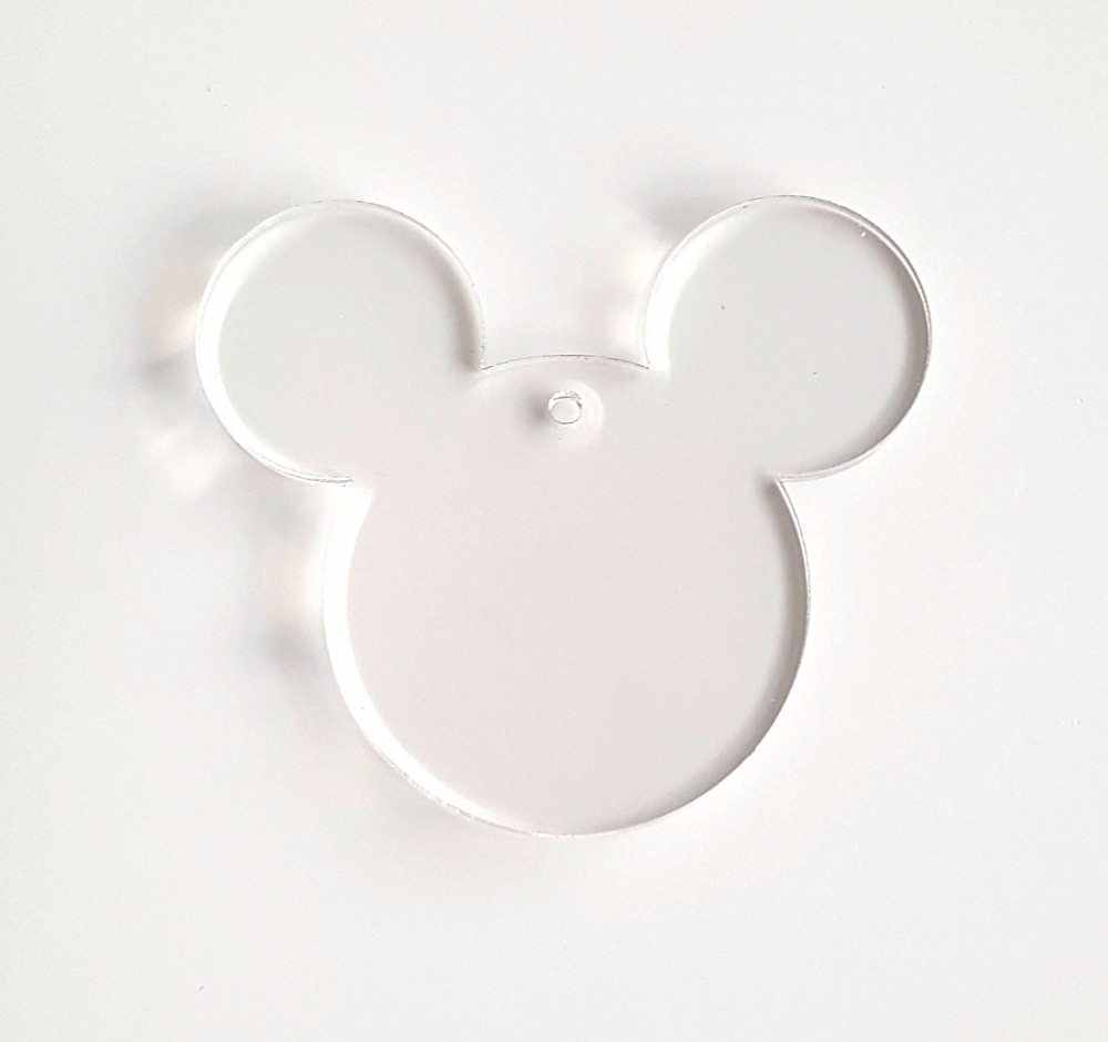 US $10 69 10% OFF|10PCS OF ACRYLIC KEYCHAINS MICKEY MOUSE CLEAR BLANK 1/8