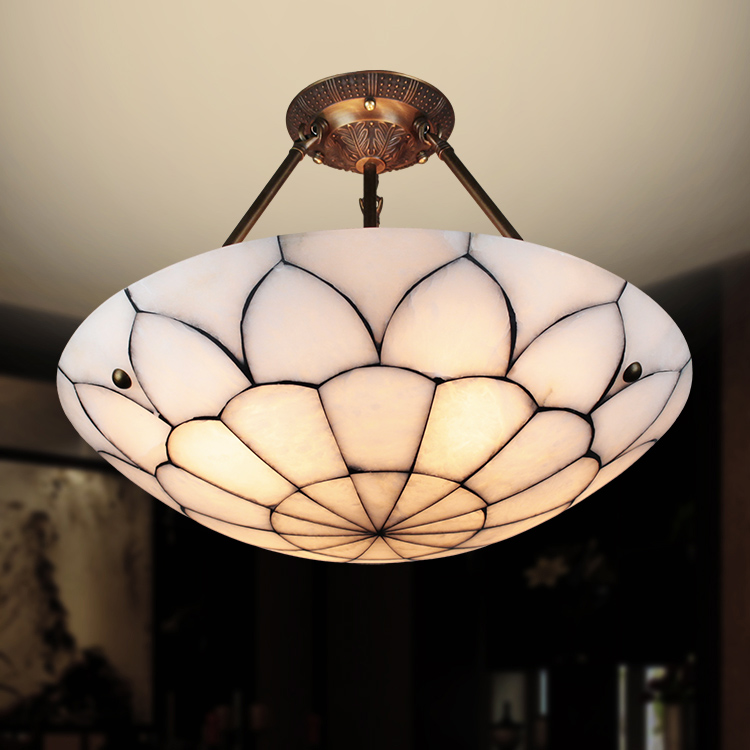 Tiffany Characteristics Of Lotus Character Simple Bedroom Single Living Room Lamp Marble Copper Pendant Light