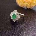 Natural verde esmeralda Anillo de la piedra preciosa Natural anillo de plata de ley 925 de moda de lujo grandes Flores Joyería partido de las mujeres