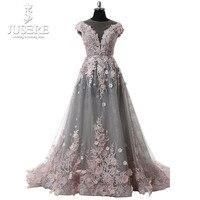 Transparent Neckline Cap Sleeve Semi A Line Grey Tulle Pink Floral Lace Open Back Elegant Lady