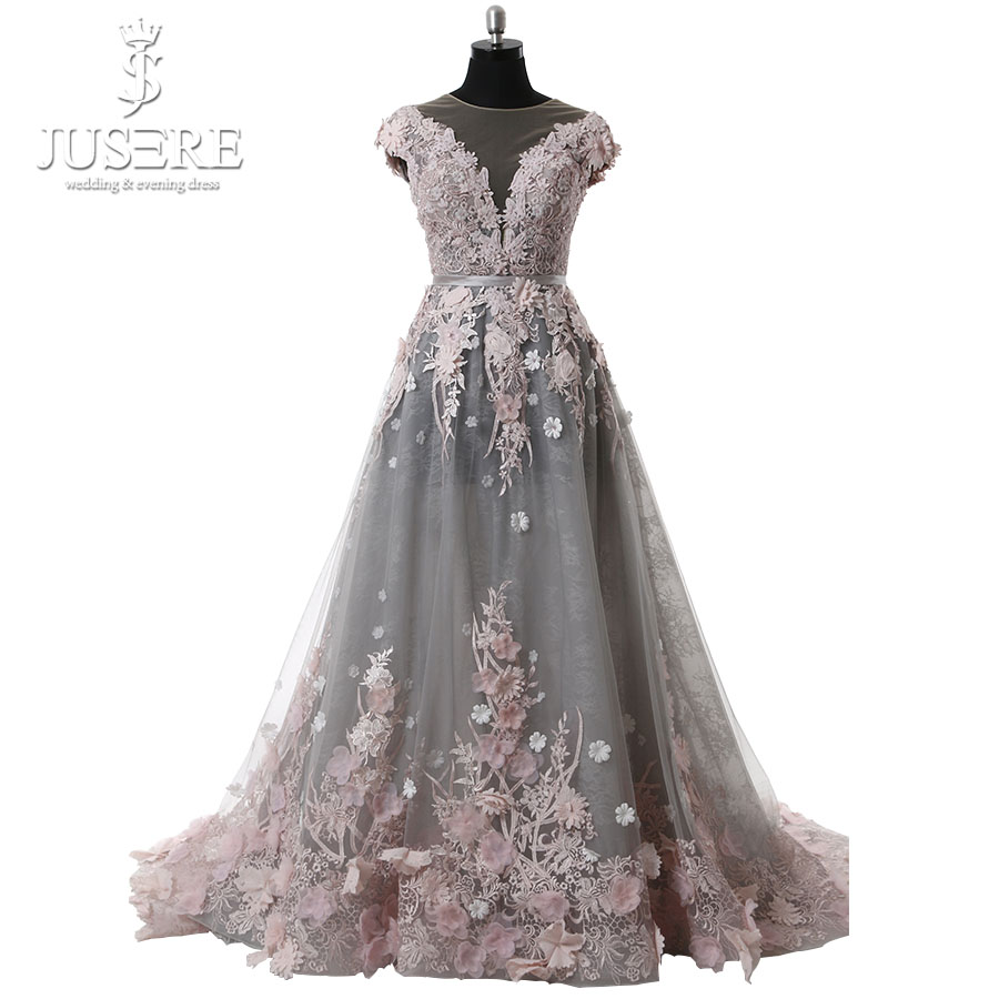6d3be2eed21d Transparent Neckline Cap Sleeve Semi A line Grey Tulle Pink Floral Lace  Open Back Elegant Lady