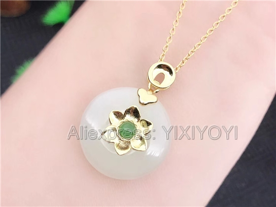 Beautiful 925 Sterling Silver White HeTian Jade Round Buckle Flower Style Lucky Pendant + Chain Necklace Fine Jewelry Charm Gift