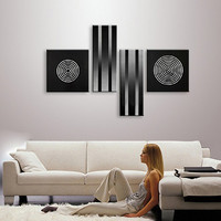 Handpainted Black Acrylic Paintings 4 Panel Pictures Modern Abstract Circle Geometric Oil Painting On Canvas Home