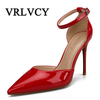 Office Lady Shoes Women High Heels Dress Shoes Silver Woman Wedding Shoes Pointed Toe Ankle Buckle