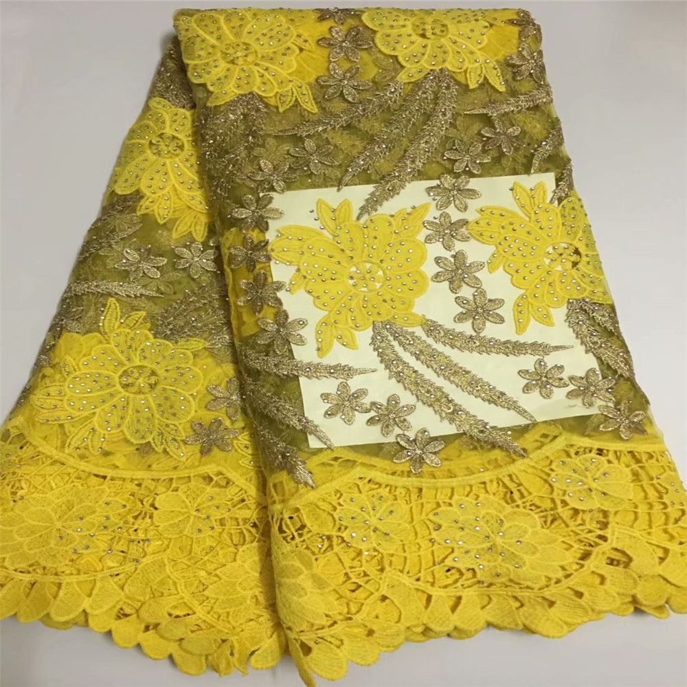 African Cord Lace Fabric High Quality French Net Lace FabricWith Stones Yellow African Lace Fabric For Nigerian Lace WeddingF358