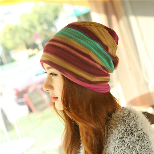 New Arrival 3 Use Hat Knitted Scarf & Winter Hats For Women Striped Beanies Hip-