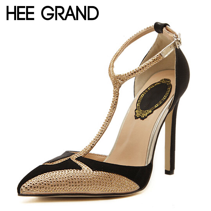 HEE GRAND High Heels T-Strap Gladiator Sandals Summer Platform Wedding Shoes Woman Pointed Toe Gold Rhinestone Pumps XWD3327 hee grand 2017 platform gladiator sandals beach beaded wedges sandals casual platform shoes woman slip on creepers xwz3466